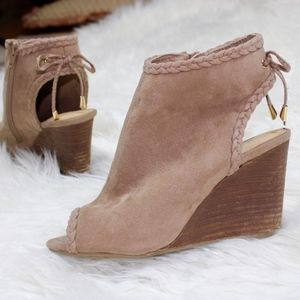 CATO Taupe Brown Open Toe Bow Heel Wedge Booties 6